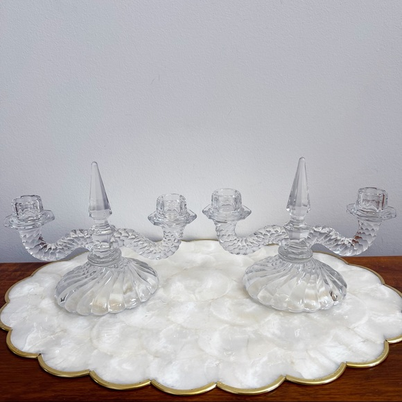Vtg Glass Double Arm Swirl Design Candle Holders
